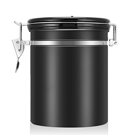 Attrayant Coffee Container Airtight For Ground Or Whole Beans Stainless Steel Vacuum  Sealed Black Kitchen Storage Canister