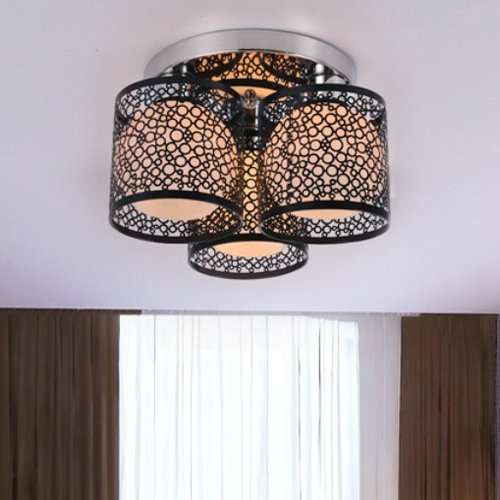 Lightinthebox Modern Creative 3 Light Flush Mount Black Painting Metal Ceiling Light Fixture Chandeliers for Kitchen Living Room Bedroom Dinning Room