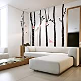 Dushang Super Large Tree Forest Birds Wall Sticker Home Decal Mural Art DIY For The sitting room TV Background Bedroom