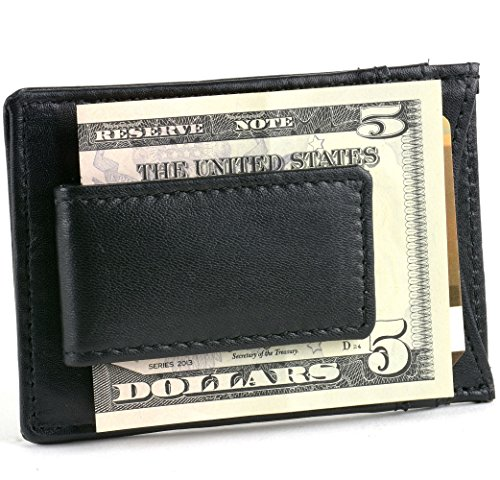 Genuine Leather Money Clip Front Pocket Wallet w Magnet & Card ID Case Thin Slim Leather Magnetic Money Clip Wallet