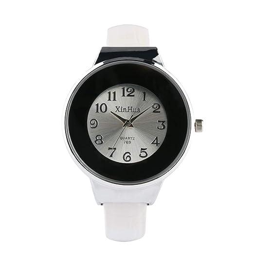 Reloj de Acero Inoxidable para Mujer, fácil Hebilla Relojes para niña, Reloj de Pulsera de Color de Moda para Adolescentes: Amazon.es: Relojes