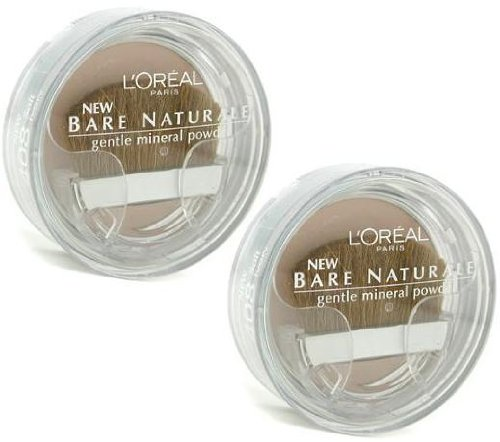 L'Oreal LOREAL Bare Naturale Gentle Mineral Powder Compact with Brush #408 Soft Ivory (Qty, Of 2) DISCONTINUED (Bare Loreal Compact Naturale)