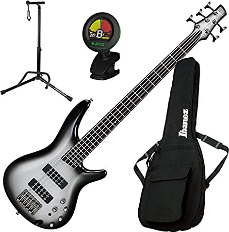 Ibanez SR305E MSS 5 String Metallic Silver Sunburst Electric Bass with Gig Bag, Stand, and Tuner (Bass Gig Bag Ibanez)