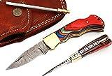 5167 Custom made damascus steel folding knife.