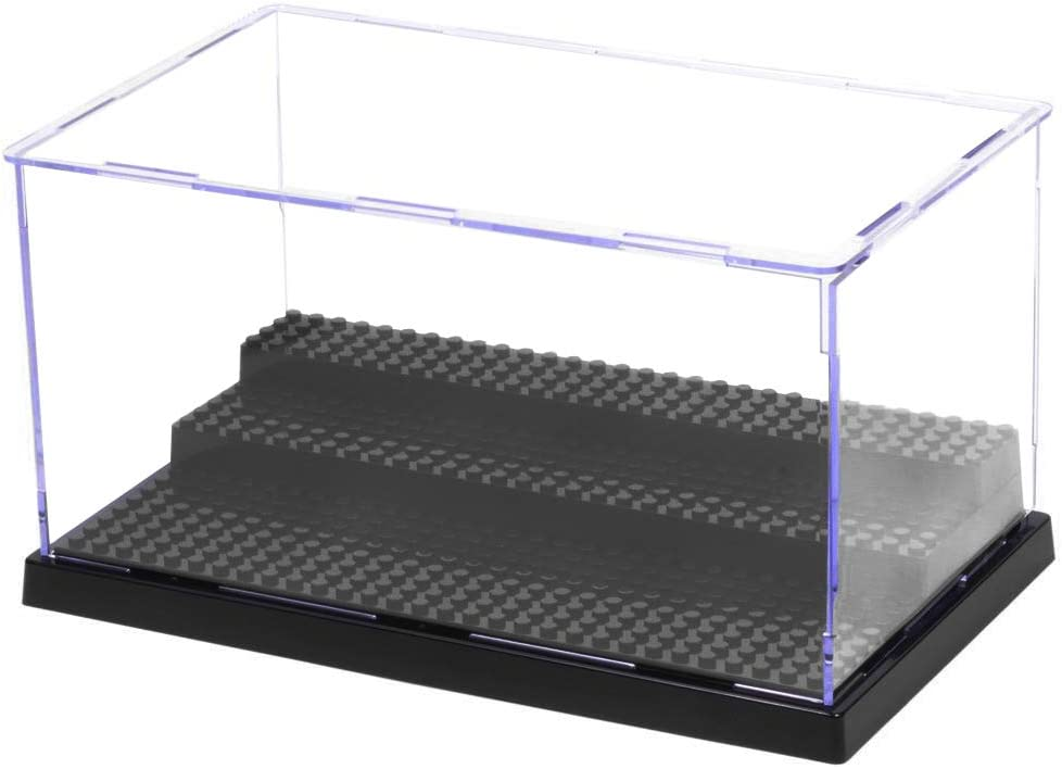 MIMIEYES Acrylic Display Case/Box (10 x 6.1 x 5.4 Inches) Perspex Dustproof ShowCase Base for Minifigures Brick Building Block (Black)