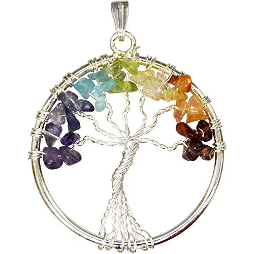 Chakra Tree of Life with Chips Pendant, 1.75
