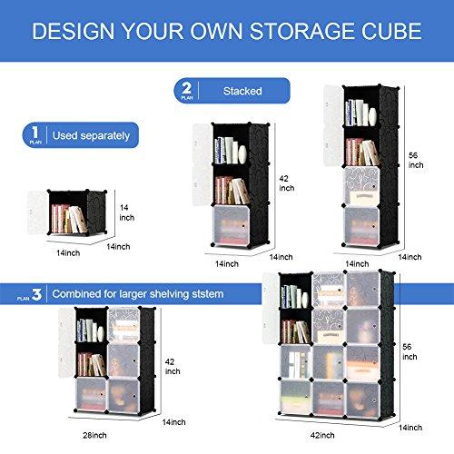 KOUSI Storage Cube Cube Organizer Cube Storage Shelves Cube Shelf Room Organizer Clothes Storage Cubby Shelving Bookshelf Toy Organizer Cabinet, Black with Doors,12 Cubes Storage by KOUSI (Image #4)