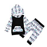 Unisex Infant 2pcs Outfits Set Baby Girls Boys Cartoon Animal Sloth Hoodie Matching Pants Clothes (3-6M, Black)