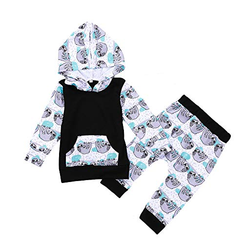 Unisex Infant 2pcs Outfits Set Baby Girls Boys Cartoon Animal Sloth Hoodie Matching Pants Clothes (12-18 Months, Black)