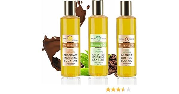 TRIO Aceites de Masaje Adelgazantes Café Té Verde y Chocolate 100% Natural - Adelgazante y Anti celulitis - Relajación y Después del baño 3x 200 ml - made in France: Amazon.es: Salud y cuidado personal