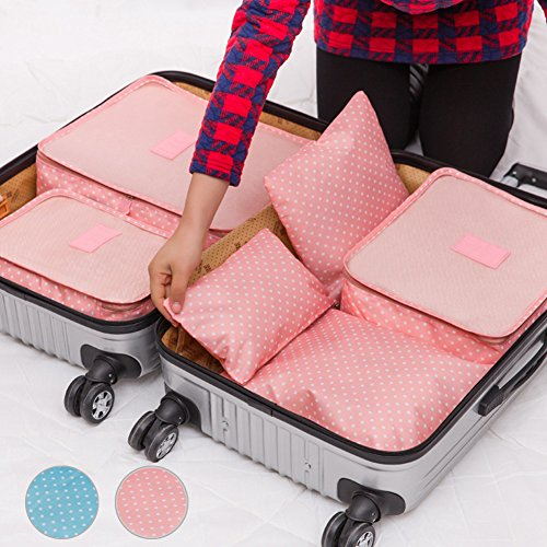 Travel Storage Bag, FAVOLOOK 6pcs/set Women Men Polka Dot Luggage Storage Packages Clothes Tidy Storage Pouch Portable Organizer Case (pink) by FAVOLOOK (Image #2)