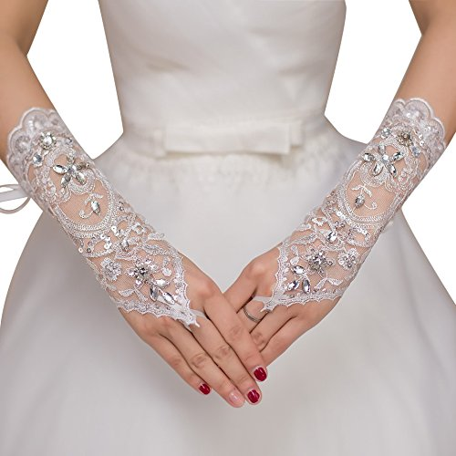 (JoyVany 2016 Fingerless Beaded Wedding Gloves Satin Embroidered Bridal Gloves)