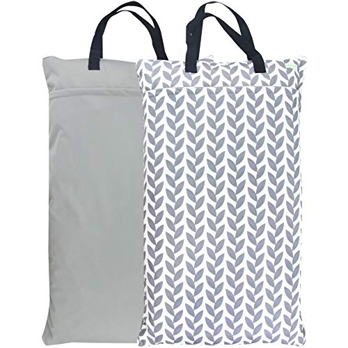 Wegreeco Reusable Hanging Wet Dry Cloth Diaper Bag (2 Pack, Grey Leaf, Grey)