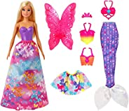 ​Barbie Dreamtopia Dress Up Doll Gift Set, 12.5-Inch, Blonde with Princess, Fairy and Mermaid Costumes, Gift f