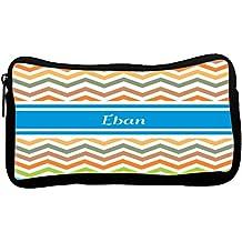 Rikki Knight Eban Blue Chevron Name Neoprene Pencil Case (dky-Neo-pc4375)