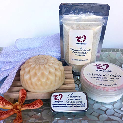 Tropical Bliss Gift Set | FREE SHIPPING | Passionfruit Soap | Monoi de Tahiti Whipped Body Butter | Tropical Mango Sugar Scrub | Plumeria Solid Perfume
