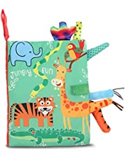 Taicanon Baby's First Soft Book, Nontoxic Fabric Baby Cloth Books with Rustling Sound for Newborns Infants Toddlers, Jungle Style Soft Book