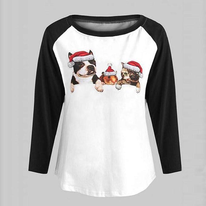 SHOBDW Mujer Colorida Novedad Feliz Navidad Regalo Otoño Invierno Patchwork Cuello Redondo Reno Papá Noel Estampado Manga Larga Top Tallas Grandes Blusa ...