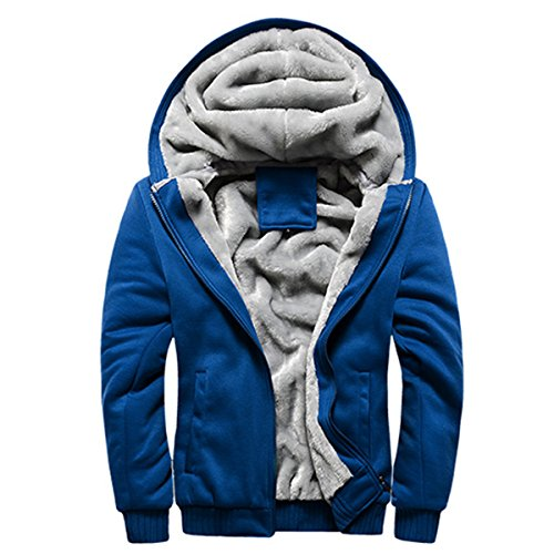 PrettyChic Men's Hooded Jackets Plain Heavyweight Full Zip Sherpa Lined Fleece Jacket, Sky Blue, Tag Size XXXXL=US Size (Lined Zip Hoody)