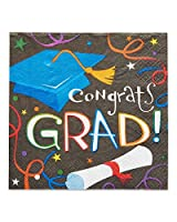 American Greetings Congrats Grad 16 Count Lunch Napkins, Black