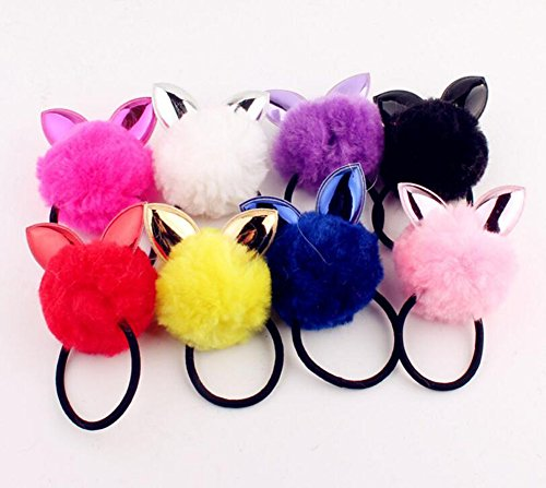 8 Pieces Cute Pom Pom Ball Rabbit Ear Hair Tie Rope Rubber Bands Elastic Ponytail Holders