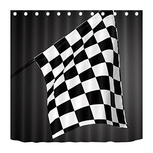 LB Black White Checkered Flag Motorsport Decor Shower Curtain for Bathroom, Racing Game Sport Theme Curtain, Mold Free Water Repellant Non Toxic Healthy Decor Curtain, 59 W x 70 L ()