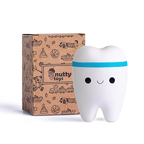 NUTTY TOYS Super Slow Rising Jumbo Squishy Tooth - Soft & Scented Kawaii Stress Relief Teeth Squishies for Boys, Girls & Adults - Best Birthday Gift & Top Fidget Toy for Kids 2018