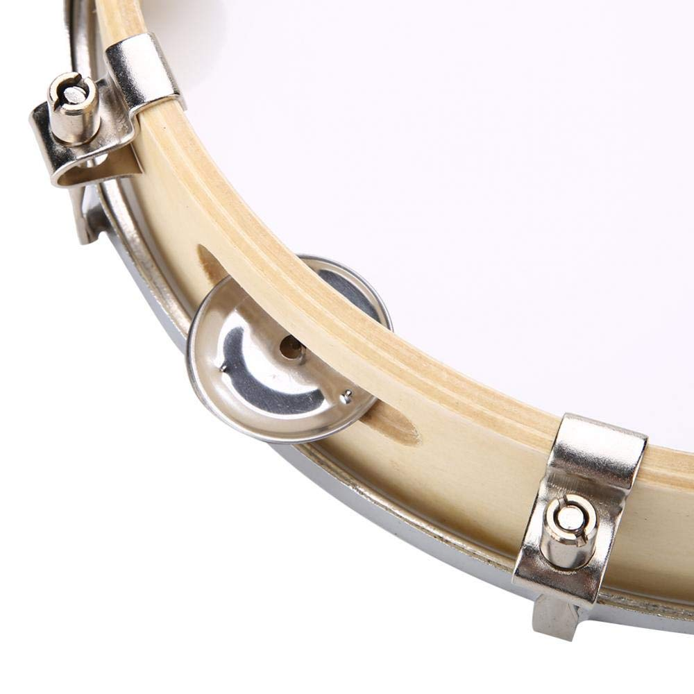 Panderetas de Mano,Pandereta de madera con cabeza de 10  con una sola l/ínea de sillines