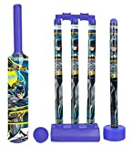 Zitto Batman Cricket Set with 1 Plastic Bat and Ball, 4 Wickets, Base and Bail