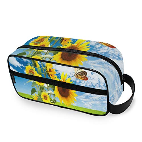 Portable Travel Toiletry Bag,Big Sunflowers And Beautiful Butterfly Cosmetic Organizer for Men Women Multifunctional Bathroom Shower Shaving Bags