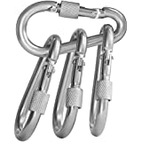 BEWISHOME 4 Pack Carabiner Hooks Hammock Locking Solid Metal D Clips with Heavy Duty 500LBS Screw Gate Hammock Locking,Quick Link for Outdoor Camping Hiking Traveling Backpacking Black & Silver