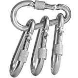 BEWISHOME 4 Pack Carabiner Hooks Hammock Locking Solid Metal D Clips with Heavy Duty 500LBS Screw Gate for Camping Hiking Traveling Backpacking Outdoor HDK02W