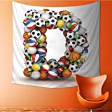 UHOO2018 Wall Hanging Tapestries Letter D Stacked from Gaming Balls Alphabet Large tablecloths 47W x 47L Inch