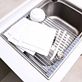 "Ohuhu Roll-up Dish Rack Multipurpose Larger Drying Dishes Rack, 16.9""(L)x13.1""(W), Warm Grey"