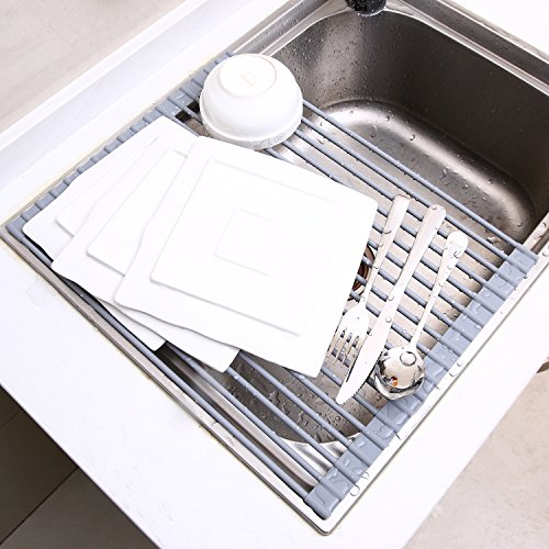 Ohuhu Roll-up Dish Rack Multipurpose Larger Drying Dishes Rack, 16.9