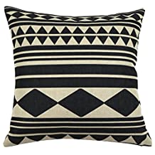 Square Black and White Geometric Printed Cushion Cover ChezMax Cotton Throw Pillow Case Sham Slipover Pillowslip Pillowcase For Teen Boy Girl Kid Children Bedroom