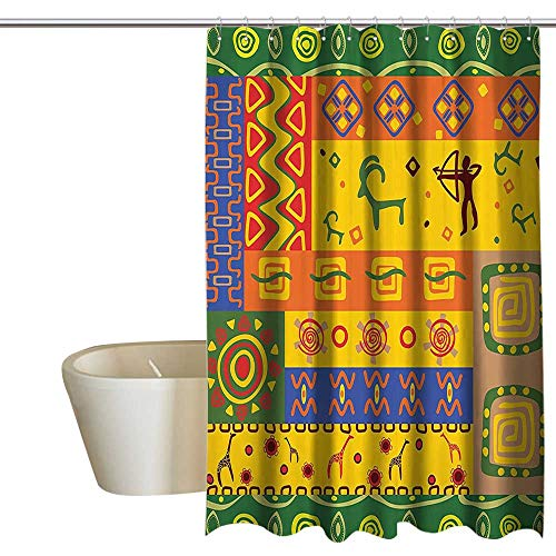 - SKDSArts Shower Curtains Gray Purple African Decorations Collection,African Animal Art Figures in Detailed Tribal Themed Backdrop Primitive Design,Orange Green 36