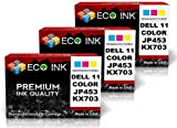 ECO INK © Compatible / Remanufactured for Dell Series 11 (3 Color) JP453-KX703 Dell 948, Dell V505, Dell V505W, Office Central