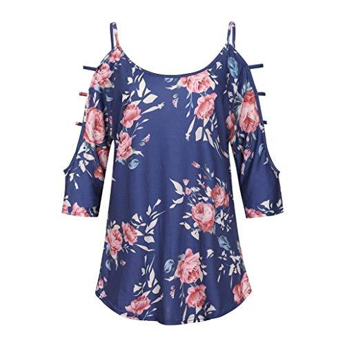 Libero Estivi Ragazza Chic O Modello Bluse Blau Fiore Elegante Tunica Camicetta off Relaxed Blouse Manica Donna Moda 4 3 Tempo Collo Shirts Shoulder U1Cq5Ow4O