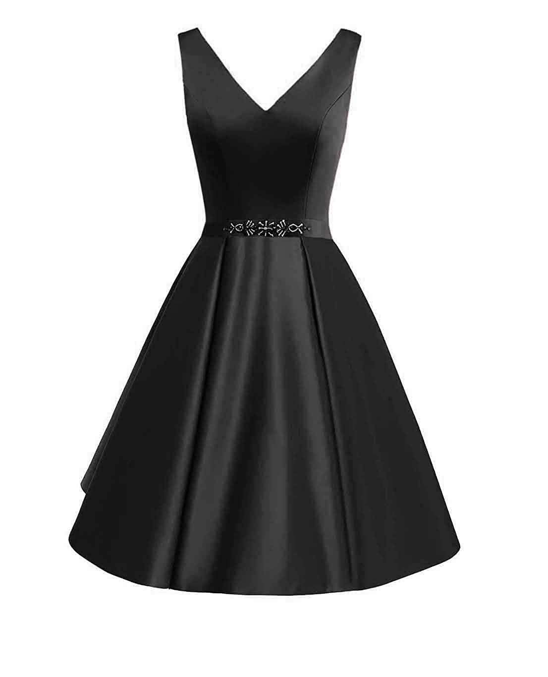 Black Miao Duo Women's Short v Neck Satin Prom Party Dresses Beaded Belt Formal Homecoming Ball Gown PM126