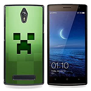 - Green Creepy Face - - Cubierta del caso de impacto con el patr??n Art Designs FOR Oppo Find 7 X9007 Queen Pattern