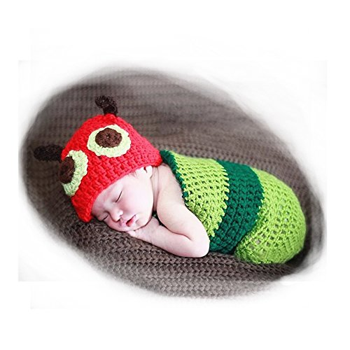 Cute Newborn Baby Infant Caterpillar Style Photograph Props, Besutana Handmade Crochet Beanie Hat Baby Clothes (Cute Mother Baby Halloween Costumes)