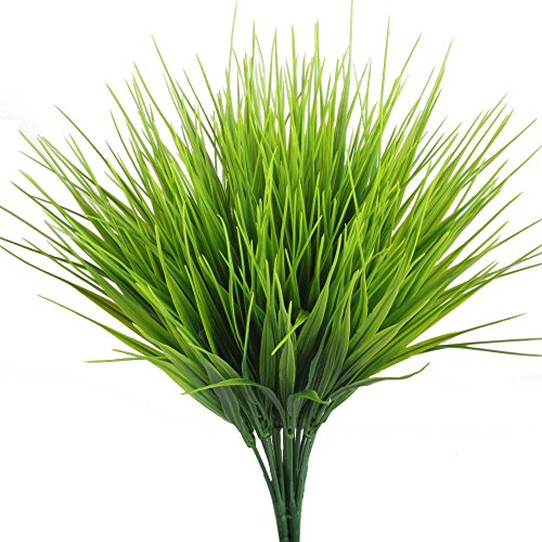 Artificial Plants, Hogado 4pcs Faux Plastic Wheat Grass Fake Leaves Shrubs Simulation Greenery Bushes Indoor Outside Home Garden Office Verandah Wedding Decor