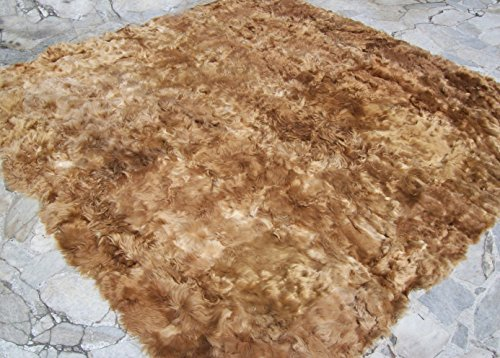 Luxurious Hypoallergenic 100% Peruvian Suri Baby Alpaca Rug Carpet, King-size (79'' W x 79'' L) Natural Beige - No colorant nor chemicals. Organic, Handmade, Soft, Antibacterial Baby Suri Alpaca