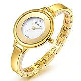 Chrysansmile Stainless Steel Wrist Watch for Women Luxury Gold-Tone Watch Analog Quartz Ladies Watches