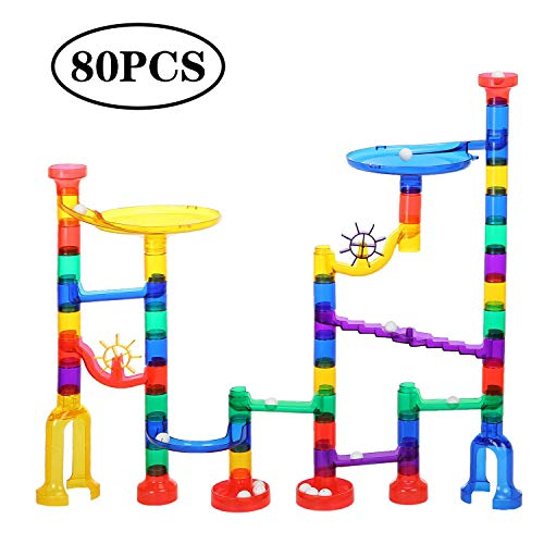 SOPHIRE 80pcs Marble Run Coaster Toy Marble Race Track Set Educational Construction Building Blocks for Kids by SOPHIRE