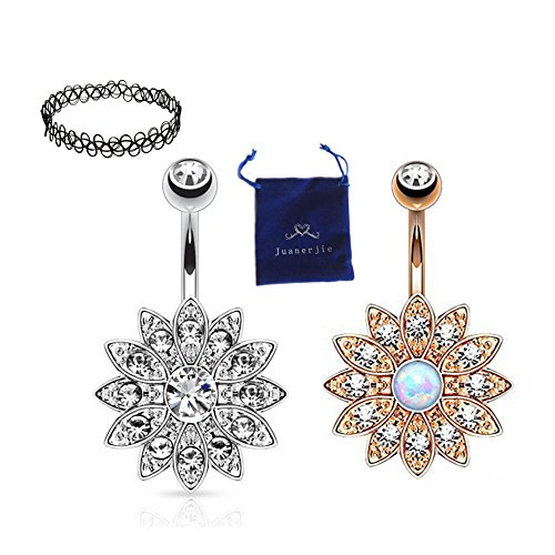 Belly Button Ring Jeweled Flower