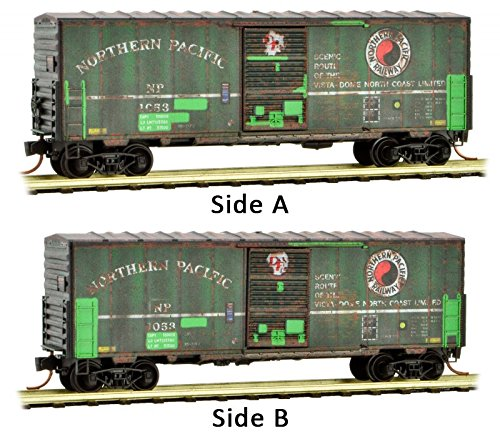 Northern Pacific Train - Micro-Trains MTL N-Scale 40ft Box Car Northern Pacific/NP Weathered/Patch #1053