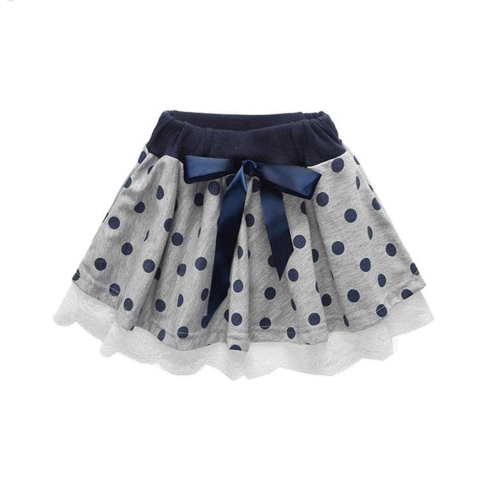Kids Girls Long Sleeve Beading T-Shirts Polka Dot Print Lace Stitching Skirts