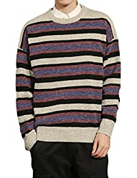 Men Casual Colorful Stripes Pullover Long Sleeve Knit Sweater Jumper